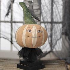 Primitive Folk Art Pumpkin and Crow