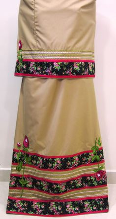 Description - Camel brown rida designed using black floral panel, trims and embroidered roses in the front and back of lehenga for a stylish, sophisticated look.  Contact +919819933762 www.feisafashion.com Pinterest - http://pinterest.com/feisafashion Instagram - http://instagram.com/feisafashion Facebook - http://facebook.com/feisafashion