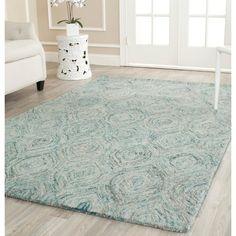 Safavieh Handmade Ikat Ivory/ Sea Blue Wool Rug (4' x 6')