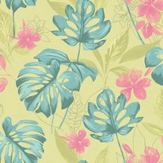 Leafy green wallpaper with pink flowers on a lime background. From the Paradise collection, Panama 98353 by Holden. Available in NZ through Guthrie Bowron stores.