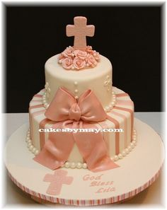 Baptism Cake for Girl by Cakes by Maylene, via Flickr