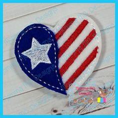 Flag Heart Feltie