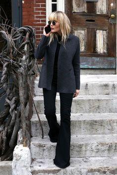 A Minimalist Cool Way to Wear Black Flares via @WhoWhatWearUK