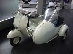 Vespa scooter with sidecar