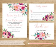 Watercolor Floral Wedding Invitation. by SweetPeonyDesign on Etsy