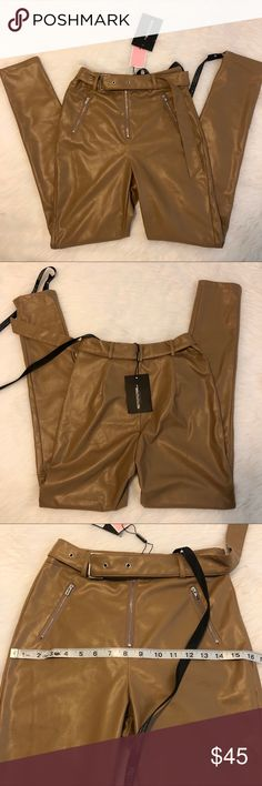 a08384e19c53d PRETTY LITTLE THING Faux Leather Pants Tan faux leather pants. New with  tags. I
