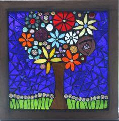 Flower Tree Glass on Glass mosaic window by lowlightcreations