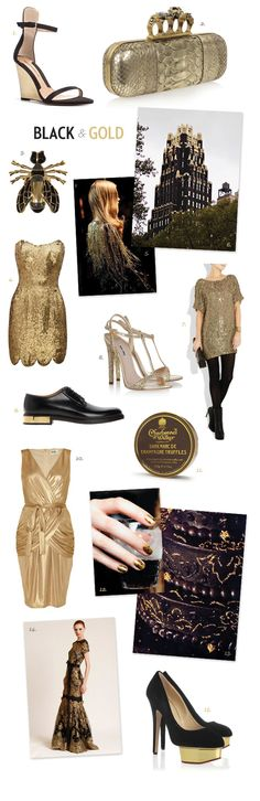 Once Wed. Elegant Gold Wedding Ideas. |♡I'm becoming increasingly affectionate for gold.  A clutch with skullen brass knuckles=WANT.  The crackle nail polish. The shoes in #15. And, if I was Beyonce #5.. or just braver.. #7.