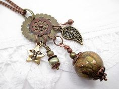 Charm Lariat Necklace Bronze Bead Necklace by LittleBitsOFaith, $35.00