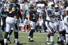 Jacksonville Jaguars kicker Jason Myers (2) looks on after missing a field goal during the first half of an NFL football game against the San Diego Chargers Sunday, Sept. 18, 2016, in San Diego.