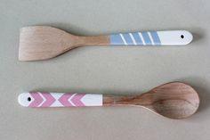 geometric painted wooden spoons diy #paintedwoodenspoon
