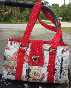 b2bb3533fb1e This beautiful Nora doctor bag was made using a lovely sewing themed fabric  by Timeless Treasures