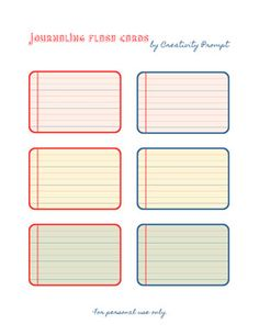 This week I am sharing a set of FREE printable journaling flash cards with you guys (for personal use only). Fonts used for the title: Cul De Sac and Printable Labels, Printable Paper, Free Printables, Book Journal, Journal Cards, Journals, Gestion Administration, Filofax, Project Life Cards