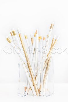 White and Gold Pencil Styled Stock Photo / Product Mockup / Styled Stock…