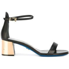 Loriblu Contrast Heel Sandals (15,120 INR) ❤ liked on Polyvore featuring shoes, sandals, leather shoes, loriblu, black sandals, real leather shoes and kohl shoes