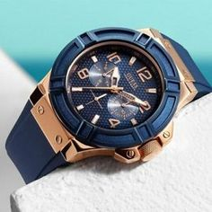 Guess Rigor Blue Rose Gold Men's Watch Sport Watches, Cool Watches, Watches For Men, Guess Watches, Men's Watches, Buy Watches Online, Mens Rose Gold Watch, Digital Wrist Watch, Skeleton Watches