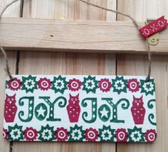 Hand Crafted Decoupage EMMA BRIDGEWATER JOY  Sign Plaque Christmas Gift Home