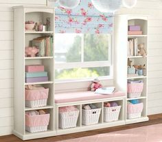 Perfect for storage in front of window Ikea Girls Room, Girls Bedroom Storage, Girls Bedroom Decorating, Toy Room Storage, Girls Room Organization, Storage For Playroom, Shelves For Nursery, Girls Bedroom Ideas Ikea, Storage For Small Bedrooms