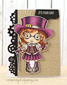 From our Design Team! Card by Joy Taylor featuring Top Hat Steampunk Marci Stamp and these Dies - Steampunk Border, Steampunk Clock, Stitched Tabs :-) Shop for our products here - http://lalalandcrafts.com/ Coloring details and more inspiration from our Design Team here - http://lalalandcrafts.blogspot.com/2014/04/inspiration-monday-dies-galore.html