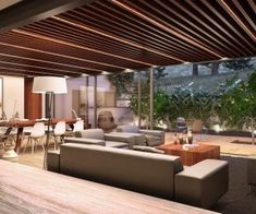 """Contemporary wooden beams is to show, instead of hiding the architectural elements of the building. it is like revealing """"the backbone"""" of a home and Romantic Living Room, Living Room Modern, Interior Design Living Room, Living Room Designs, Interior Decorating, Living Rooms, Small Beach Houses, Sunken Living Room, Modern Ceiling"""