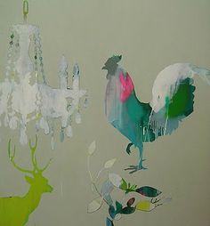 Rooster, Chandelier, Deer painting by Miranda Scoczek