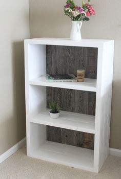Handcrafted Modern Farmhouse Shabby Chic White And Grey Wood Bookcase Bookshelf