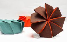 Caja de regalo en espiral Box Origami, Origami Swan, Origami Envelope, Origami And Kirigami, Origami Flowers, Origami Paper, Diy Paper, Paper Art, Paper Crafts