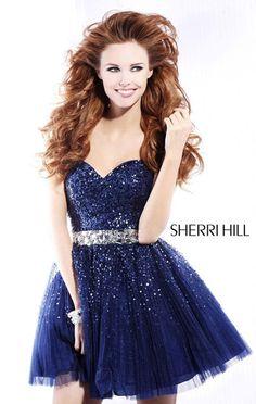 Cheap Strapless Navy/Gunmetal Sequin Sherri Hill 2787 Beaded Short Homecoming Dresses
