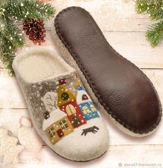 Felted Wool Slippers, Shearling Slippers, Nuno Felting, Needle Felting, Sharpie Shoes, Elf Shoes, Wool Shoes, Wool Embroidery, Denim Crafts