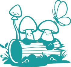 Fantasy World Mushrooms Wall Decal - Baby & Kids Wall Decals E-Glue - Children Room Wall Decor