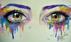 Cry. (in Technicolor.) Watercolor Eyes, Watercolor Paintings, Illustrations, Illustration Art, Realistic Eye Drawing, Eye Art, Beautiful Drawings, Beautiful Eyes, Pretty Art