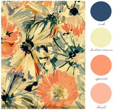 Wedding Colors! Bouquets will probably sub cream instead of the blush shade, but we'll see. I wanted yellow/orange bouquets for the tables so that it wouldn't clash with the ballroom colors at BCC, but we can still get navy blue dresses..