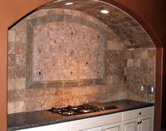 travertine tile backsplash | Tumbled travertine mosaic backsplash