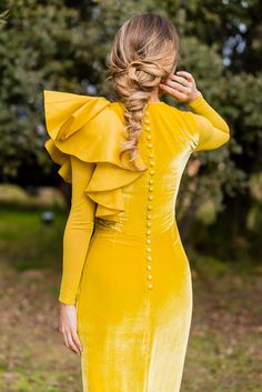 Burnt Dark Yellow Spring Summer Alternative Long Sleeved Ruffled One Shoulder Velvet Dress Dress Skirt, Dress Up, Bodycon Dress, Peplum, Vetements Shoes, Hijab Fashion, Fashion Dresses, Evening Dresses, Prom Dresses