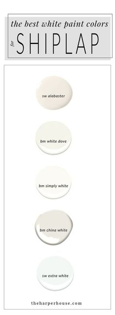 best white paint colors to paint shiplap; sherwin williams alabaster & www.theharperhous& Source by chellemarshall The post White Paint Colors: 5 Favorites for Shiplap Best White Paint, White Paints, Bm China White, China White Paint, Wall Colors, House Colors, Paint Colours, Cottage Paint Colors, Rustic Paint Colors