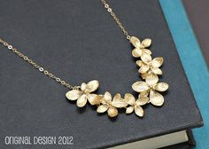 Flower Necklace Gold, Bridal Jewelry, Maid of Honor, Best Friend GIft, Junior Bridesmaid Gift, Bridesmaid Gift, Mother Gift