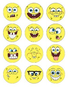 12 Spongebob Cupcake or cookie toppers Edible image of spongebob faces 12 different images. $6.50, via Etsy.