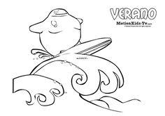 Dibujos colorear verano, surf - Actividades infantiles -- Summer, Glumpers character cartoon coloring pages