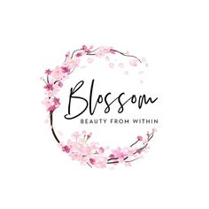 Logo Floral, Design Floral, Flower Logo, Logo Pink, Circle Logo Design, Circle Logos, Custom Logo Design, Branding, Cherry Logo
