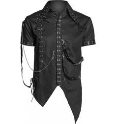 Goth bondage shirt with metal chain and straps. http://www.the-black-angel.com/gothic-button-downs-hoodies/1373-goth-bondage-shirt-straps-metal-chain.html