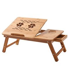 Laptop Desk Beaucoup Laptop Table 100% Bamboo Desk Adjustable with USB Fan*2 Foldable Breakfast Serving Bed Tray Drawer