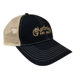 Navy and tan mesh baseball style hat with C.F. Martin Logo embroidered in tan to match the mesh backing.