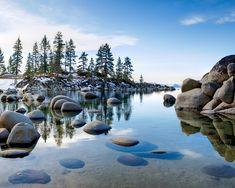 Winter at Sand Harbor beach Lake Tahoe, Nevada Sand Harbor Lake Tahoe, Harbor Beach, Lake Tahoe Winter, Cool Photos, Amazing Photos, Fine Art Photography, Scenery, Nevada, Landscapes