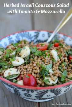 Israeli Couscous Salad with Fresh Herbs, Tomato and Mozzarella - from @Rachel Cooks | Rachel Gurk