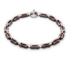 Baraka Magma 18 Karat Rose Gold, Stainless Steel, Black Ceramic and Diamond Bracelet