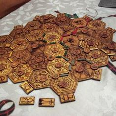 Wood Burned Settlers of Catan Board