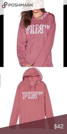 PINK Campus hooded Tee newest must-have tee! Your fave fit with a cozy hoodie, pairs perfectly with leggings. Oversized fit Hooded Longer length Cuffed sleeves Imported cotton Size small new in bag. PINK Victoria's Secret Tops Tees - Long Sleeve
