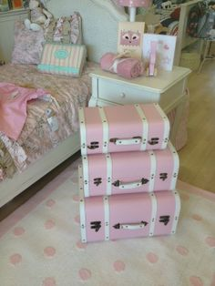 Storage trunks pink - Storage - Brisbane Soft Furnishings for babies - baby nursery and bedroom ideas