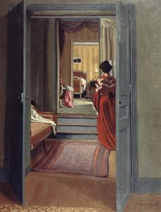 Interior with Woman in red, Felix Vallotton