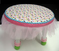 Tutu step stool would make a great gift for any little girl!i think doing it to a table would be great for princess tea parties Baby Nursery Decor, Project Nursery, Time Out Stool, Princess Chair, Baby Shower Gifts, Baby Gifts, My Baby Girl, Baby Baby, How To Make Ribbon